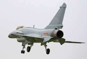 J-10B fighter with homemade engine in trial flight