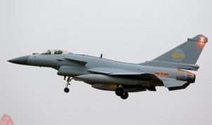 China's J-10B fighter with gold tinted cockpit canopy