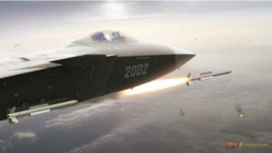 Conception of J-20 fighter shooting PL-13 missile