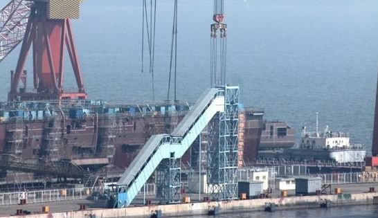 China's first homemade aircraft carrier being built
